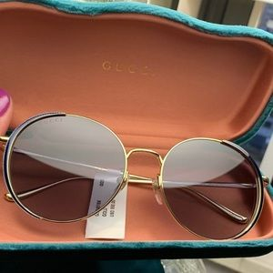 Authentic GUCCI 56 Round Gold Blue Crystals sungl